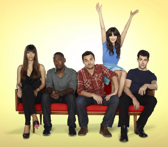 Hannah Simone, Lamorne Morris, Jake Johnson, Zooey Deschanel and Max Greenfield appear in a scene from the FOX show 'New Girl.'