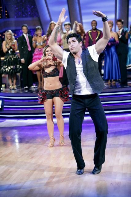 &#39;Psycho&#39; Mike Catherwood and Lacey Schwimmer react to being eliminated. The couple received 17 out of 30 from the judges for their Jive on week 2 of &#39;Dancing With The Stars&#39; on Monday, March 28, 2011. Combined with the first week scores of 13 out of 30, their total is 30 out of 60. <span class=meta>(ABC Photo&#47;Adam Taylor)</span>