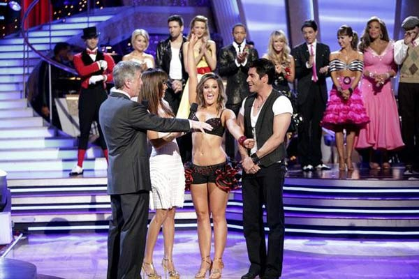 "<div class=""meta ""><span class=""caption-text "">'Psycho' Mike Catherwood and Lacey Schwimmer react to being eliminated. The couple received 17 out of 30 from the judges for their Jive on week 2 of 'Dancing With The Stars' on Monday, March 28, 2011. Combined with the first week scores of 13 out of 30, their total is 30 out of 60. (ABC Photo/Adam Taylor)</span></div>"