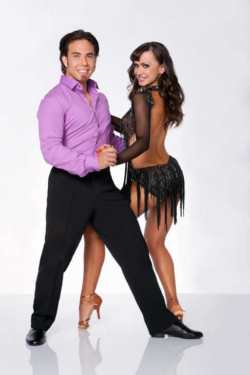 Apolo Anton Ohno and Karina Smirnoff appear in an official cast photo for 'Dancing With The Stars: All-Stars' season 15.