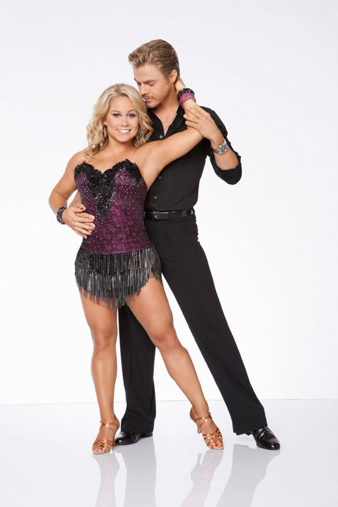Shawn Johnson and Derek Hough appear in an official cast photo for 'Dancing With The Stars: All-Stars' season 15.