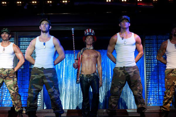 Joe Manganiello, Alex Pettyfer, Matthew McConaughey and Channing Tatum appear in a still from Warner Bros. Pictures' dramatic comedy 'Magic Mike,' which is slated for release on June 29, 2012.