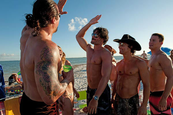 Kevin Nash, Joe Manganiello, Matthew McConaughey and Channing Tatum appear in a still from Warner Bros. Pictures' dramatic comedy 'Magic Mike,' which is slated for release on June 29, 2012.