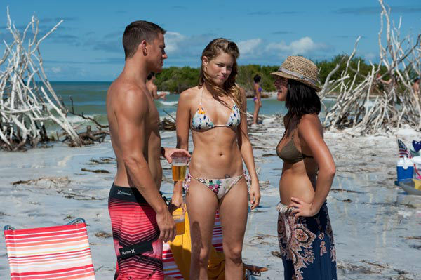 Channing Tatum, Cody Horn and Olivia Munn appear in a still from Warner Bros. Pictures' dramatic comedy 'Magic Mike,' which is slated for release on June 29, 2012.