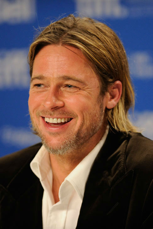 Actor Brad Pitt participates in a news...