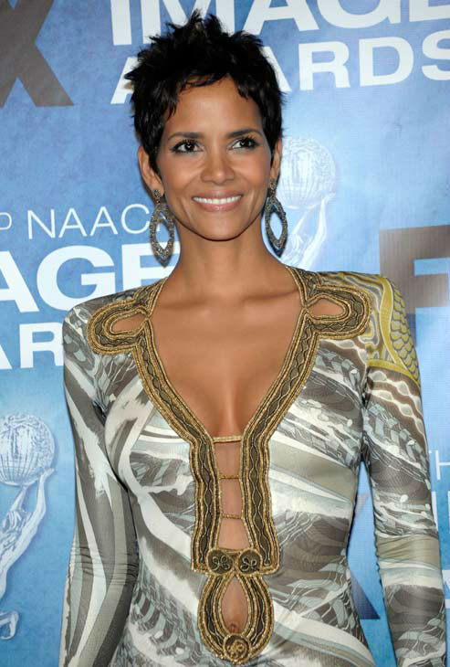Halle Berry poses backstage at the 42nd NAACP...