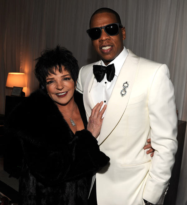 Liza Minnelli and Jay-Z backstage at Carnegie Hall before Jay-Z performs to Benefit the United Way of New York City and the Shawn Carter Foundationon February 6, 2012 in New York City. Minnelli sang the song &#39;Single Ladies,&#39; one of his wife Beyonce&#39;s most successful singles, in the film &#39;Sex and the City 2.&#39; <span class=meta>(Kevin Mazur&#47;WireImage)</span>