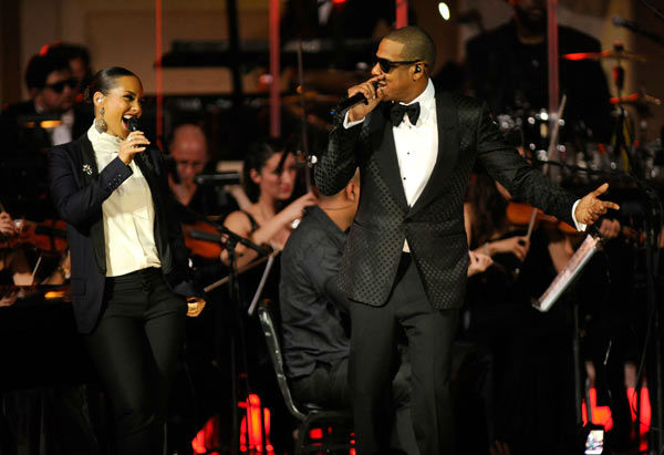 Alicia Keys and Jay-Z perform at Carnegie Hall to Benefit the United Way of New York City and the Shawn Carter Foundation on February 6, 2012 in New York City.