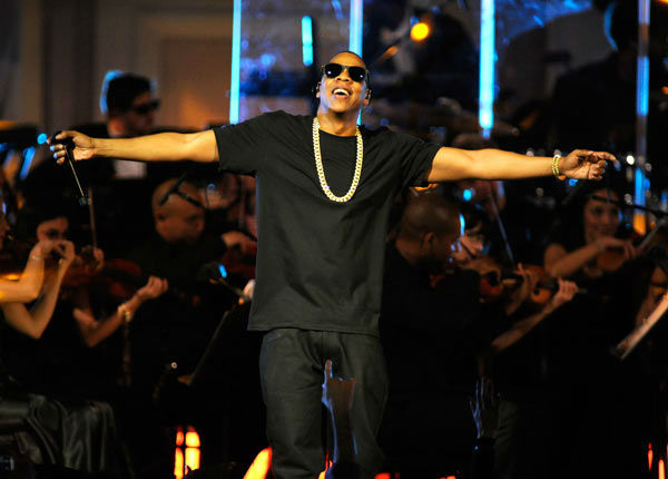 Jay-Z performs at Carnegie Hall to Benefit the United Way of New York City and the Shawn Carter Foundation on February 6, 2012 in New York City.