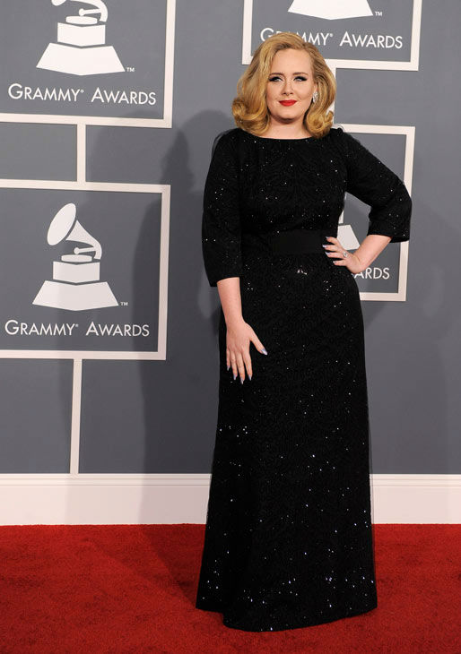 "<div class=""meta image-caption""><div class=""origin-logo origin-image ""><span></span></div><span class=""caption-text"">Adele arrives at the 54th annual Grammy Awards on Sunday, Feb. 12, 2012 in Los Angeles.  (AP Photo/ Chris Pizzello)</span></div>"