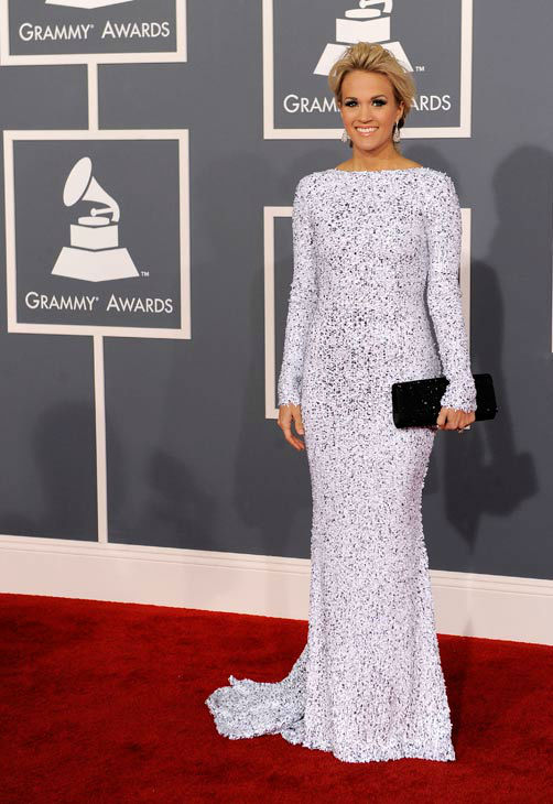 "<div class=""meta image-caption""><div class=""origin-logo origin-image ""><span></span></div><span class=""caption-text"">Carrie Underwood arrives at the 54th annual Grammy Awards on Sunday, Feb. 12, 2012 in Los Angeles. (AP Photo/ Chris Pizzello)</span></div>"