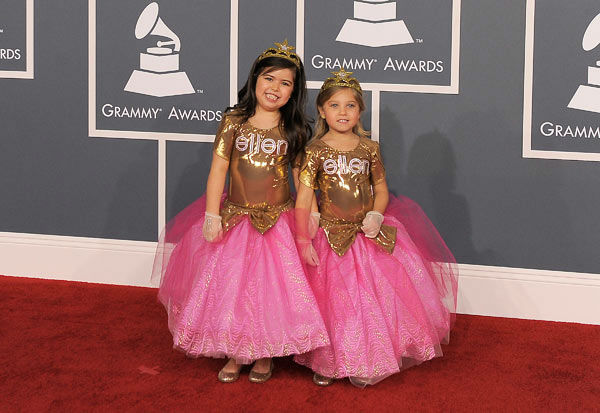 Sophia Grace and Rosie arrives at the 54th annual GRAMMY Awards on Sunday, Feb. 12, 2012 in Los Angeles.