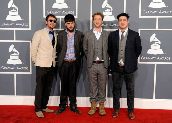 The band Mumford and Sons arrives at the 54th annual GRAMMY Awards on Sunday, Feb. 12, 2012 in Los Angeles.