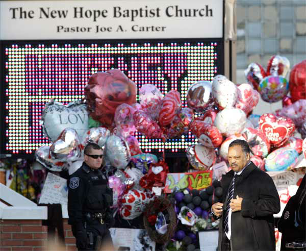 Rev. Jesse Jackson arrives at the New Hope Baptist Church for funeral services for singer Whitney Houston in Newark, N.J.,  Saturday, Feb. 18, 2012. <span class=meta>(AP Photo&#47; Mel Evans)</span>