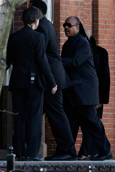 Stevie Wonder arrives the funeral Whitney Houston at New Hope Baptist Church in Newark, N.J., Saturday, Feb. 18, 2012.  Houston died last Saturday at the Beverly Hills Hilton in Beverly Hills, Calif., at the age 48. <span class=meta>(AP Photo&#47; Mel Evans)</span>