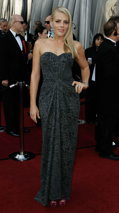 Busy Philipps arrives before the 84th Academy Awards on Sunday, Feb. 26, 2012, in the Hollywood section of Los Angeles. Philipps wore a jacquard-print Dolce and Gabbana gown with a sweetheart, strapless neckline. <span class=meta>(AP Photo&#47; Matt Sayles)</span>