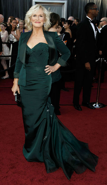Glenn Close arrives before the 84th Academy Awards on Sunday, Feb. 26, 2012, in the Hollywood section of Los Angeles. The &#39;Albert Nobbs&#39; star donned a dark green Zac Posen gown with matching blazer. <span class=meta>(AP Photo&#47; Matt Sayles)</span>