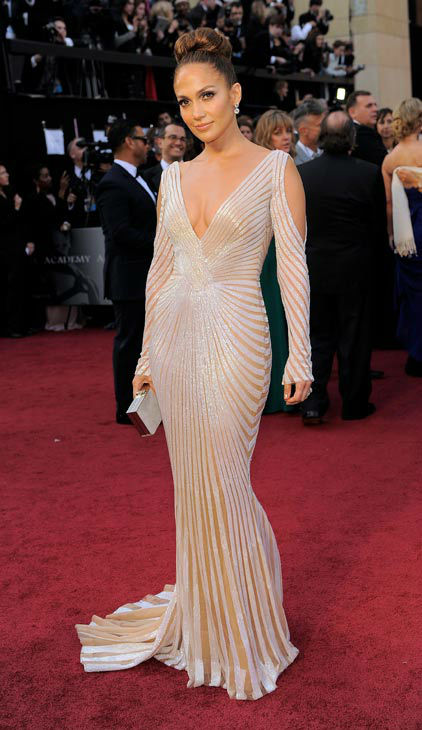 Jennifer Lopez arrives before the 84th Academy Awards on Sunday, Feb. 26, 2012, in the Hollywood section of Los Angeles.