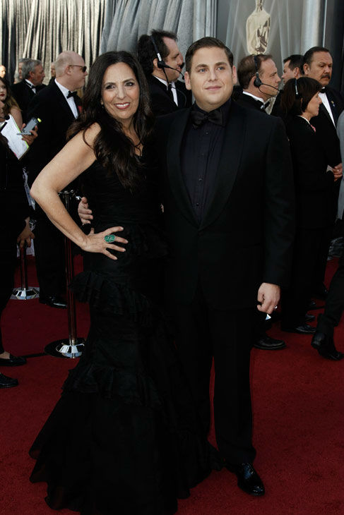 Jonah Hill, right, and his mother Sharon Lyn arrive before the 84th Academy Awards on Sunday, Feb. 26, 2012, in the Hollywood section of Los Angeles. <span class=meta>(AP Photo&#47; Matt Sayles)</span>