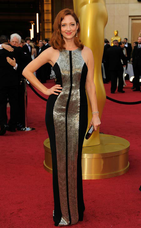 Judy Greer arrives before the 84th Academy Awards on Sunday, Feb. 26, 2012, in the Hollywood section of Los Angeles. &#39;The Descendants&#39; actress donned a beaded Monique Lhuillier gown with contrasting vertical bronze and black stripes. <span class=meta>(AP Photo&#47; Chris Pizzello)</span>