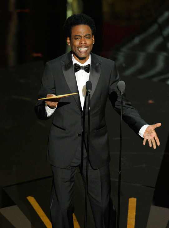 "<div class=""meta image-caption""><div class=""origin-logo origin-image ""><span></span></div><span class=""caption-text""> Presenter Chris Rock argued that making an animation is easy, citing his experience doing voice work in the 'Madagascar' franchise and explaining that he got paid one million dollars for repeating lines. He also joked about Hollywood typecasting African American actors, even in animated films. (AP Photo/ Mark J. Terrill)</span></div>"