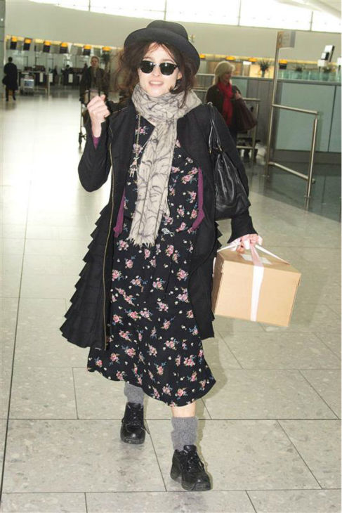 Helena Bonham Carter is seen at Heathrow Airport in London on March 8, 2012. <span class=meta>(RF &#47; Startraksphoto.com)</span>
