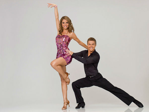 "<div class=""meta ""><span class=""caption-text "">Actress, author and the host of 'EXTRA,' Maria Menounos appears with three-time champ Derek Hough in an official cast photo for 'Dancing With The Stars' season 14.  (ABC Photo/ Bob D'Amico)</span></div>"