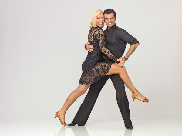 Tennis legend and cultural icon Martina Navratilova appears with Tony Dovolani in an official cast photo for 'Dancing With The