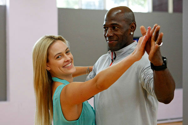 Football star Donald Driver and partner Peta Murgatroyd appear in a rehearsal photo for season 14 of 'Dancing With the Stars.'