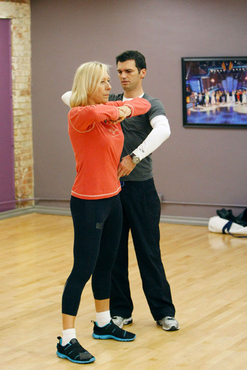 "<div class=""meta ""><span class=""caption-text "">Tennis legend Martina Navratilova and partner Tony Dovolani appear in a rehearsal photo for season 14 of 'Dancing With the Stars.'  (ABC Photo/ Rick Rowell)</span></div>"