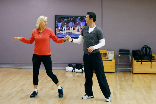 Tennis legend Martina Navratilova and partner Tony Dovolani appear in a rehearsal photo for season 14 of 'Dancing With the Stars.'