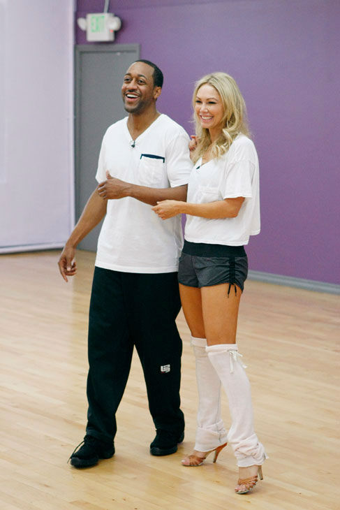 Actor Jaleel White and partner Kym Johnson appear in a rehearsal photo for season 14 of 'Dancing With the Stars.'
