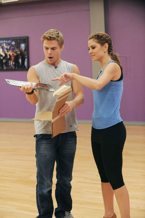 TV host Maria Menounos and partner Derek Hough appear in a rehearsal photo for season 14 of 'Dancing With the Stars.'