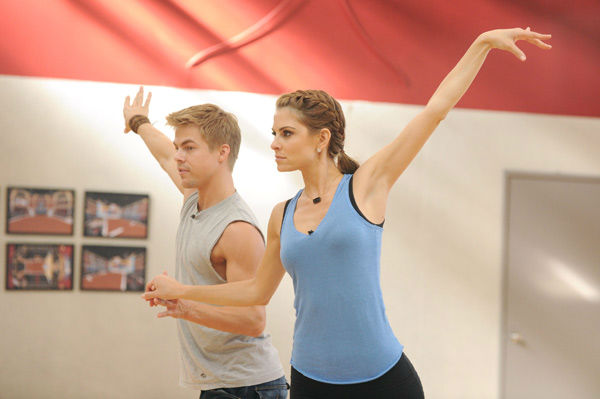 "<div class=""meta ""><span class=""caption-text "">TV host Maria Menounos and partner Derek Hough appear in a rehearsal photo for season 14 of 'Dancing With the Stars.' (ABC Photo/ Todd Wawrychuk)</span></div>"