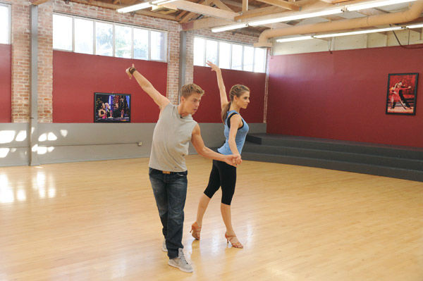 "<div class=""meta image-caption""><div class=""origin-logo origin-image ""><span></span></div><span class=""caption-text"">TV host Maria Menounos and partner Derek Hough appear in a rehearsal photo for season 14 of 'Dancing With the Stars.' (ABC Photo/ Todd Wawrychuk)</span></div>"