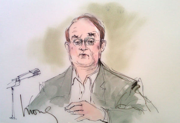 Marc Cherry appears inside a Los Angeles court during a trial about Nicollette Sheridan's 'Desperate Housewives' wrongful termination case, as seen in this sketch released on March 6, 2012.