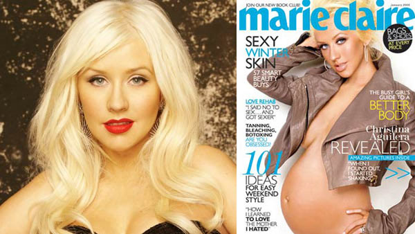 Christina Aguilera poses in a promotional still for 'The Voice.' / Christina Aguilera appears on the January 2008 cover of Marie Claire.