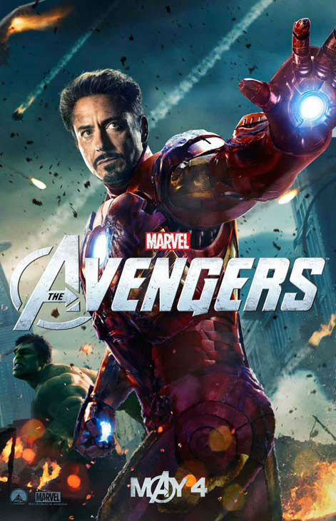 Robert Downey Jr. appears as Tony Stark &#47; Iron Man while Hulk, who will be played by Mark Ruffalo in the film, is seen in the background in a 2012 promotional poster for &#39;The Avengers.&#39; The film hits theaters on May 4. <span class=meta>(Marvel Studios)</span>
