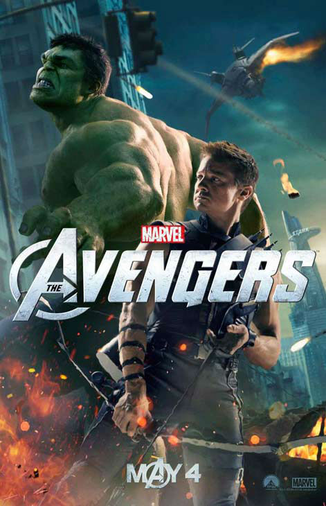Jeremy Renner appears as Hawkeye while Hulk, who will be played by Mark Ruffalo in the film, is seen in the background in a 2012 promotional poster for 'The Avengers.' The film hits theaters on May 4.