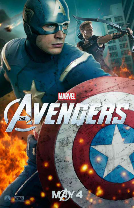 "<div class=""meta image-caption""><div class=""origin-logo origin-image ""><span></span></div><span class=""caption-text"">Chris Evans appears as Captain America and Jeremy Renner appears as Hawkeye in a 2012 promotional poster for 'The Avengers.' The film hits theaters on May 4. (Marvel Studios)</span></div>"