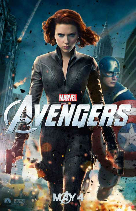 Scarlett Johansson appears as Black Widow and Chris Evans appears as Captain America in a 2012 promotional poster for 'The Avengers.' The film hits theaters on May 4.