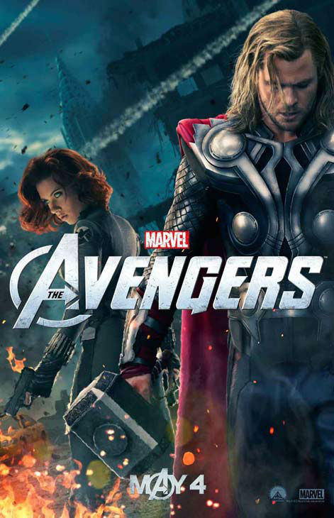 Chris Hemsworth appears as Thor and Scarlett Johansson appears as Black Widow in a 2012 promotional poster for 'The Avengers.' The film hits theaters on May 4.