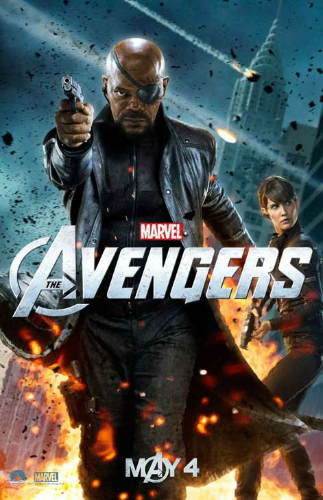 "<div class=""meta ""><span class=""caption-text "">Samuel L. Jackson appears as Nick Fury and Cobie Smulders appears as Maria Hill in a 2012 promotional poster for 'The Avengers.' The film hits theaters on May 4. (Marvel Studios)</span></div>"