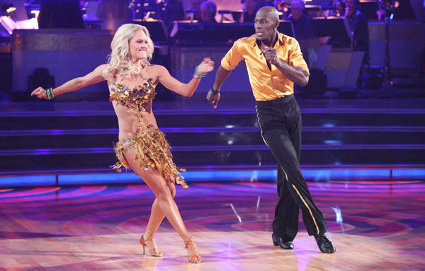 "<div class=""meta ""><span class=""caption-text "">Football star Donald Driver and his partner Peta Murgatroyd received 21 out of 30 points from the judges for their cha cha on the season premiere of 'Dancing With The Stars,' which aired on March 19, 2012. (ABC Photo/ Adam Taylor)</span></div>"