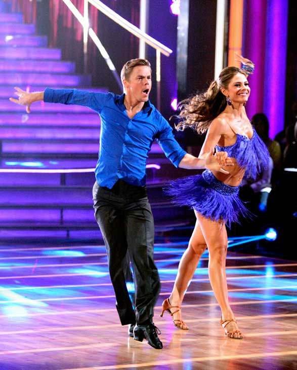 TV personality Maria Menounos and her partner Derek Hough received 21 out of 30 points from the judges for their cha cha on the season premiere of 'Dancing With The Stars,' which aired on March 19, 2012.