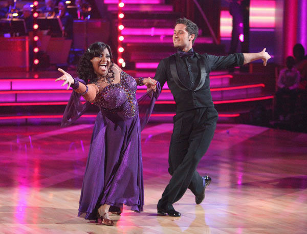 "<div class=""meta ""><span class=""caption-text "">'The View' co-host Sherri Shepherd and her partner Valentin Chmerkovskiy received 23 out of 30 points from the judges for their foxtrot on the season premiere of 'Dancing With The Stars,' which aired on March 19, 2012. (ABC Photo/ Adam Taylor)</span></div>"