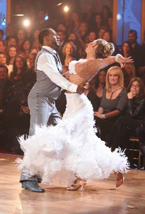 "<div class=""meta ""><span class=""caption-text "">Jaleel White, who played Steve Urkel on 'Family Matters,' and his partner Kym Johnson received 26 out of 30 points from the judges for their foxtrot on the season premiere of 'Dancing With The Stars,' which aired on March 19, 2012. (ABC Photo/ Adam Taylor)</span></div>"