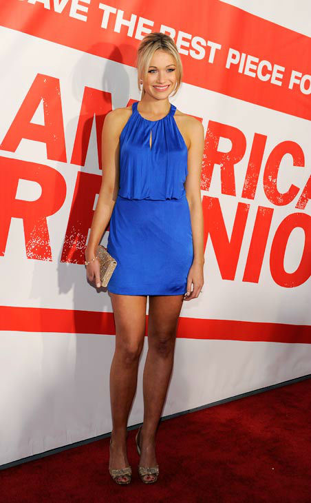 Katrina Bowden, a cast member in 'American Reunion,' poses at the premiere of the film in Los Angeles, Monday, March 19, 2012. The film is released in theaters on April 6.