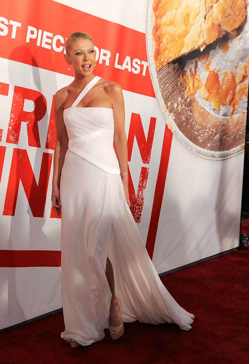Tara Reid, a cast member in 'American Reunion,' poses at the premiere of the film in Los Angeles, Monday, March 19, 2012. The film is released in theaters on April 6.