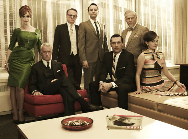 "<div class=""meta ""><span class=""caption-text "">Christina Hendricks (Joan Harris), John Slattery (Roger Sterling), Jared Harris (Lane Pryce), Vincent Kartheiser (Pete Campbell), Jon Hamm (Don Draper), Robert Morse (Bertram Cooper) and Elisabeth Moss (Peggy Olson) appear in a promotional photo for season five of AMC's 'Mad Men,' which premieres on March 25, 2012. (Frank Ockenfels 3 / AMC)</span></div>"